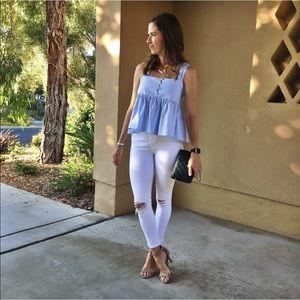 Zara chambray ruffle top